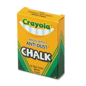Crayola® - Nontoxic Anti-Dust Chalk, White, 12 Sticks/Box - Sold As 1 Box - Low-dust chalk for use on most chalkboards.