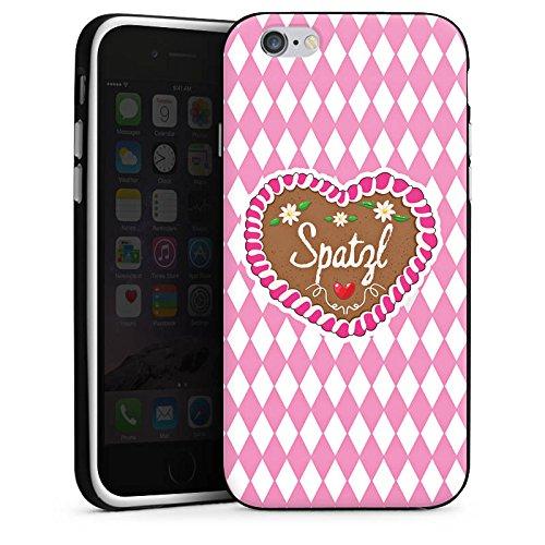 Apple iPhone 6s Silikon Hülle Case Schutzhülle Oktoberfest Spatzl Lebkuchenherz Silikon Case schwarz / weiß