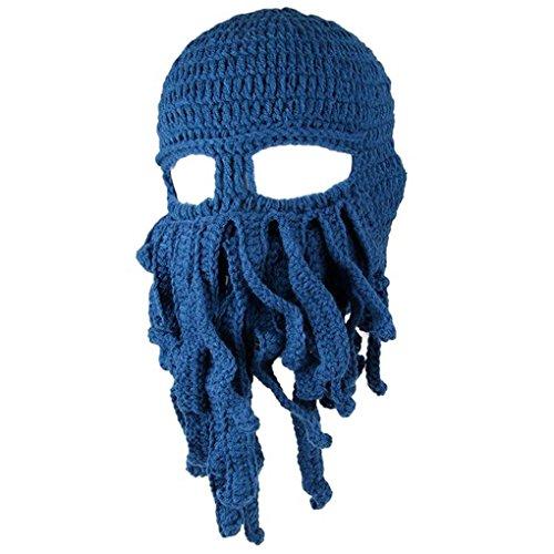 Tentakel Octopus Knit Beanie Hut Mütze Wind Ski Maske (Oktopus Halloween-kostüm)
