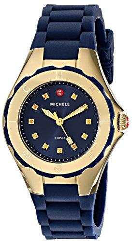 Michele donna-Orologio da polso cinturino silicone cassa in acciaio inox quadrante blu oro luenette Analog MWW12P000004