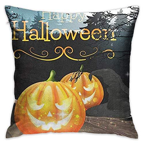 FPDecor Dekorativ Kissenbezug, Throw Pillow Cover Vintage Happy Halloween Pumplin Caslte Night Decorative Pillow Case Decor Square 18x18 Inch Cushion Pillowcase