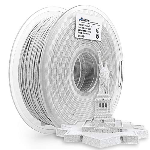 AMOLEN 3D Drucker Filament Granit, PLA Filament 1.75mm 1KG(2.2lb),+/- 0.03 mm 3D Drucker Materialien, enthält Proben Zement Grau Filament.