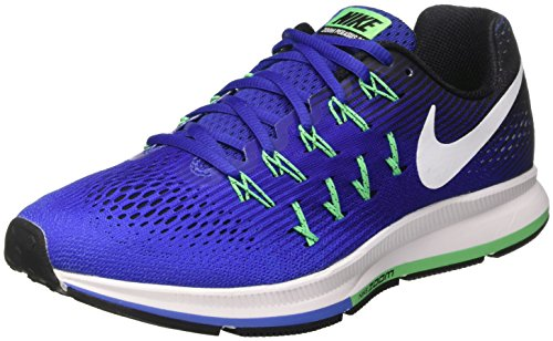 Nike Air Zoom Pegasus 33, Scarpe da Corsa Uomo Blu (Med Blue/White/Deep Night/Black/Electro Green)