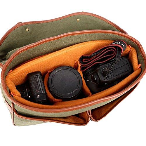 Othilar Canvas Kameratasche Umhängetasche Schultertasche für Kamera Spiegelreflex DSLR SLR Grün