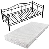 vidaXL Metallbett Einzelbett Tagesbett Metall Bett Bettgestell Sofa 90x200 Matratze