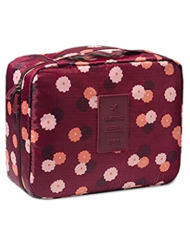 iSuperb® Toiletry Bags Floral Print Travel Kit Wash Bag Organizer Bathroom Storage Cosmetic Makeup Bag Waterproof for Women 23x18x9CM (Wine with Floral