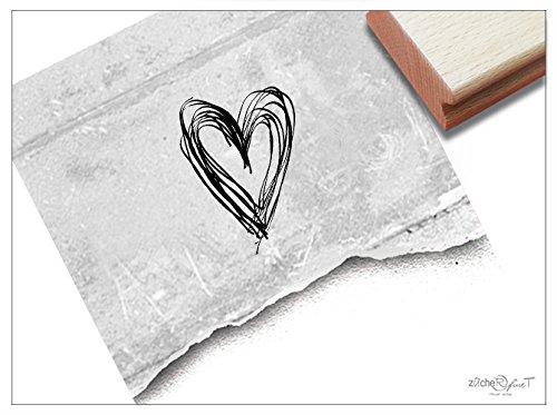 Stempel - Motivstempel LINIENHERZ - Hübscher Bildstempel für Dinge, die dir am Herzen liegen - von zAcheR-fineT - Herzen Liege