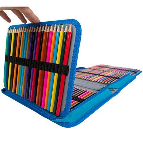Homeself 150 Slots Große Federmäppchen Pen Tasche für farbige Bleistift Stifte Schule Schreibwaren Bleistift Organizer Zeichnen Malen Tasche für Bleistift Box blau (Make-up-pinsel-sammlung)