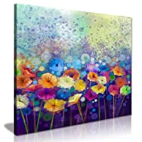 Abstract Floral Flower Watercolor Nature Painting Canvas Wall Art Picture Print (30 x 30 Inch)