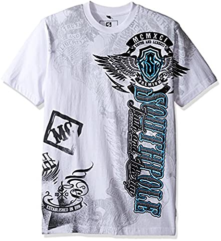 Southpole Men's Short Sleeve Hd and Screen Graphic Tee with