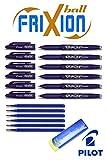 6 Tintenroller FriXion 0,7 in blau mit 6 Ersatzminen in blau und original Frixion Spezial Remover/Radierer (6 Tintenroller | mit Minen + Radierer, blau)