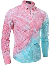 Jeansian Hombre Personalidad Color De Contraste Manga Larga Camisas Men Contrast Color Long Sleeves Shirts 84A9
