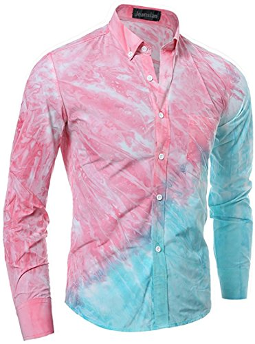 Jeansian Hommes Chemise Manches Printing Longues Slim Fit Casual Mens Fashion Shirt 84A9 pink