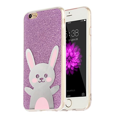 """MOONCASE iPhone 6s Coque, Bling Glitter Motif Etui TPU Silicone Antichoc Housse Case pour iPhone 6 / iPhone 6s (4.7"""") (Ours - Or) Lapin - Violet"""