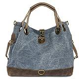 CASPAR Damen Vintage Freizeit Tasche/Ledertasche / Umhängetasche mit stylischem Canvas/Leder Mix - viele Farben - TL675, Farbe:jeans blau