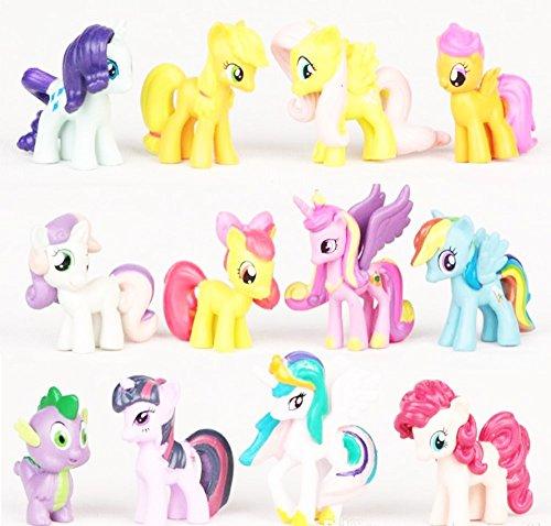 Just Crystals Boutique 12Little Pony Mini Figuren Spielzeug Pferd Kuchen Cupcake Topper Party Tasche Strumpffüller Riding Lovers Mädchen Jungen -