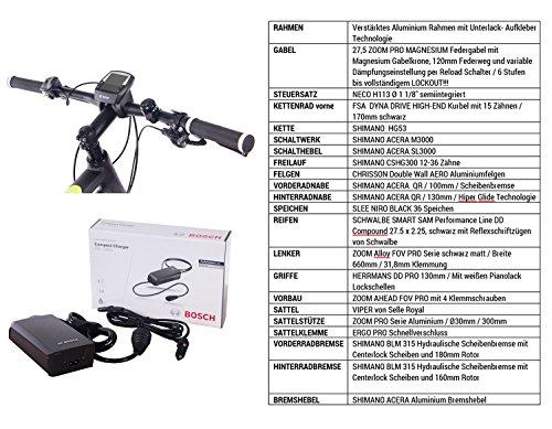 CHRISSON 27,5 Zoll E-Bike, E-Mountainbike Pedelec Elektrofahrrad E-Mounter 1.0 mit Bosch Performance Line Motor Akku Powerpack 300 und Shimano ACERA 3000 Schaltung, Schwarz 48 cm