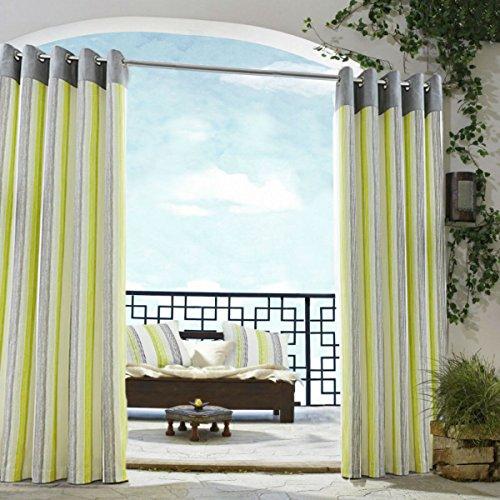 Tende a strisce lime verde grigio crema occhiello patio Living