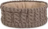 styleBREAKER Damen Strick Stirnband mit Zopfmuster und Pailletten, Fleece Futter, Haarband, Headband 04026028, Farbe:Braun