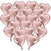 BUONDAC 20pcs Rose Gold Heart Shaped Foil Helium Balloons Love Romantic Balloons for Birthday Wedding Propose Party Decoration ( 18inch )