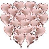BUONDAC 20 Stk 18 Zoll Rosegold Herzballons Hochzeit Valentinstag Verlobung Geburtstag Ballons Herz Folienballon Helium Folienluftballons Luftballons Herzform Heliumballons Herzluftballons