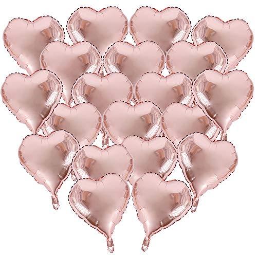 BUONDAC 20pcs Globos Metalicos de Corazón Oro Rosa Decoración Fiesta Cumpleaños Boda Navidad 18in 45cm