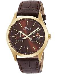 Lotus  15957/3 - Reloj de cuarzo para hombre, con correa de cuero, color marrón