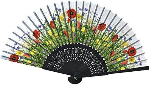 Home Collection Abanico Plegable Abanico de Mano con motivos florales MOHNWIESE Largo plegado 21 cm Ancho abierto 38 cm