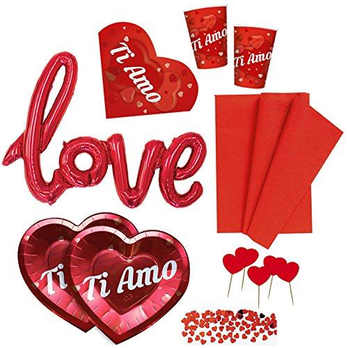 Kit n.2 coordinato san valentino con palloncino love, tovaglia, piatti, bicchieri, confetti e picks cuore - anniversario matrimonio decorazioni ti amo love