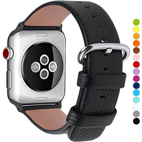 15 Colores para Correa Apple Watch 38mm, Fullmosa®Yan Apple Watch Band de Cuero Apple Watch Pulsera Correa para Watch Reemplazo de Reloj Ediciones Versiones 2015 2016 2017 para iWatch Serie 0 1 2 3, Negra