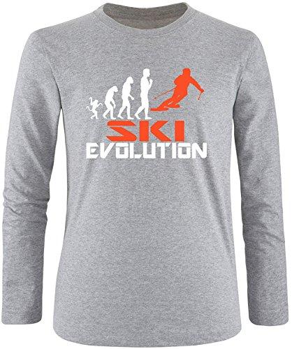 EZYshirt® Ski Evolution Herren Longsleeve Grau/Weiss/Orange