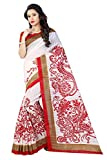 Sugathari Sarees Women's White And Red Mysore Bhagalpuri Art Silk Saree (BHAGALPURI SAREES 20 RED Sugathari)