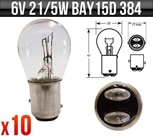 Glühbirne Amps (6V 21/5W BAY15D Motorrad-Glühbirnen, Brems- & Rücklicht, 384x 10)