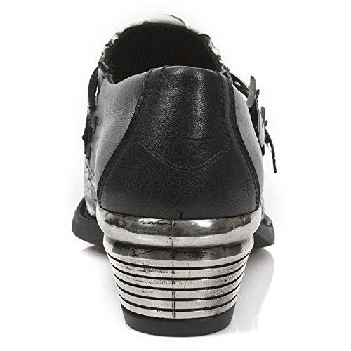 New Rock Männer Dallas Leder Bunt Stiefel M.7934PT-S14 Black