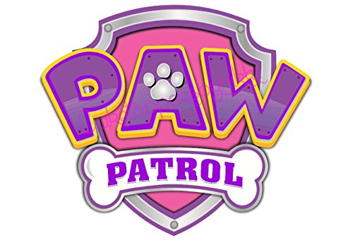 5 Inch Pink Purple Paw Patrol Logo Precut Icing CakeToppers Easy Peel Attach Fab For Birthday Cakes