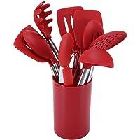 14pcs Kit d'ustensiles de cuisine en silicone rouge Ustensiles de cuisine antiadhésifs avec boîte de rangement Ensemble…