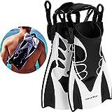 Khroom® Kurzflossen verstellbar mit Flossentasche zum umhängen und weichem Fersen-Pad (Schwarz, 34-39)