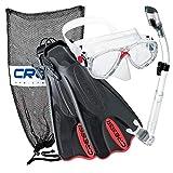 Cressi Palau Mask Fin Snorkel Set with Snorkeling Gear Bag, Red, L/XL | (Men's 10-13) (Women's 11-14)