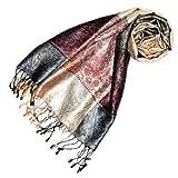 Lorenzo Cana Luxus Pashmina Damenschal Schaltuch jacquard gewebt 100% Seide 70 x 190 cm Paisley Muster Seidenschal Seidentuch Seidenpashmina harmonische Farben 78079