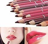 Hosaire 12x Professionelle Damen Lipliner Wasserdichte Lipliner 12 Farben Make up Lippenstift Lippenkonturenstift mit Deckel 15 cm