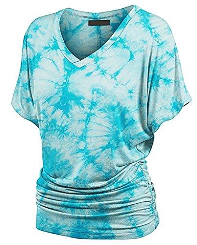 Damen TShirt Kurzshirt Sommerbluse große größen kurzarm fledermausärmel  Taille VAusschnitt Baggy vintage Pastell Atmungsaktiv Blau