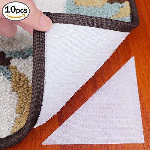 Cefanty - Juego de 10 alfombrillas de anclaje triangulares para alfombras con gancho y bucle