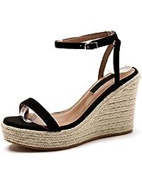 SBL Zapatos de Mujer de Verano de Piel de Oveja con una Hebilla Hebilla de cuña