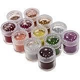 Belle Glitter Polveri per Nail Art - SODIAL(R) 12 x Belle polvere acrilica di scintillio di arte del chiodo punte di design, decorazioni Glitter Polveri (10g Jar)