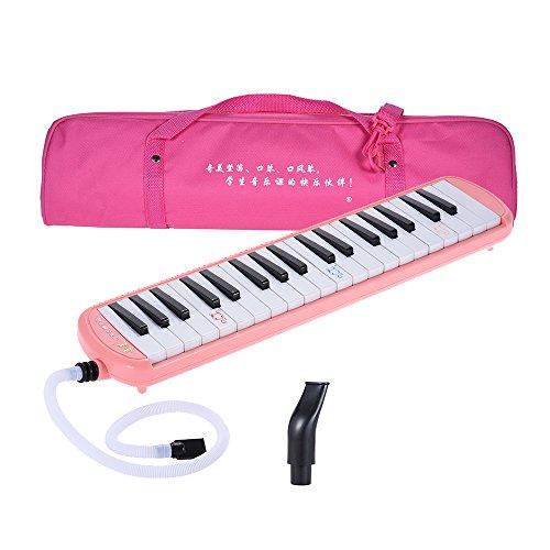 ammoon QM37A-9 37 Melodica Klavier-Stil Schlüssel Melodica Musikalische Ausbildung Instrument für Anfänger Kinder Kinder Geschenk mit Tragetasche Pink