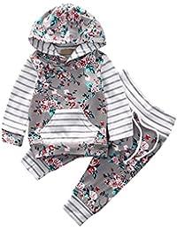 2pcs Neonata Neonato A Strisce Rosa Manica Lunga Felpa con Cappuccio Top + Pantaloni Abiti Set