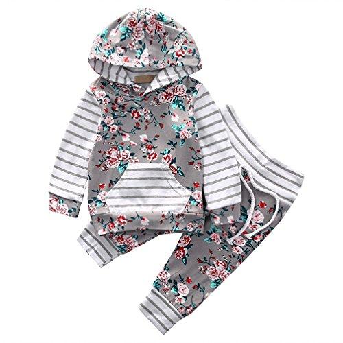 Baby MäDchen Kleidung Set Rose Gedruckt Top Langarm Hoodie Shirt + Pants Bekleidungsset Outfits (6-12 Monate)