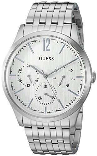 Guess uomo acciaio inossidabile casual orologio con giorno, data e 24HR int' l Time display, color argento (Model: U0995G1)