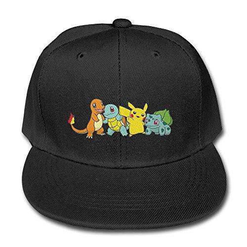Hittings Pokemon Pikachu Charizard Squirtle Bulbasaur Adjustable Kids Hats Trucker Baseball Caps Black