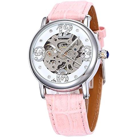 GuTe-scheletro meccanico automatico da orologio con diamanti, colore: Rosa luminoso in PU - Womens Diamante Orologio Automatico
